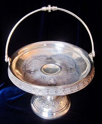 Simpson Hall Miller & Co. Quadruple Silver Plate Ornate Bridal Basket - 7.5 in.