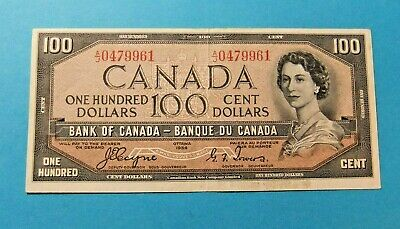 1954 Bank of Canada 100 Dollar DEVILS FACE Note - EF40