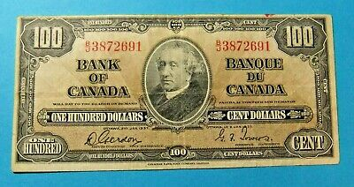 1937 Bank of Canada 100 Dollar Note - VF25