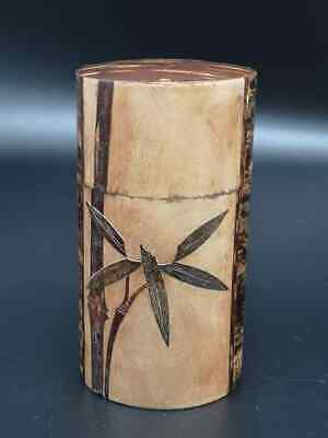 Japanese cherry bark Leaves iron Tea Chaite tea caddy canister Tall 15.5 Cm