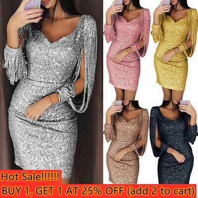 Party Dress Sequins Slim Dress Women Bodycon Dresses Ladies Sexy Tassels Dress