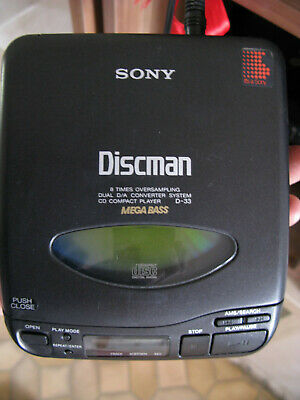 Mega Bass Vintage SONY Walkman D-33 CD Compact Disc Player Discman lecteur cd