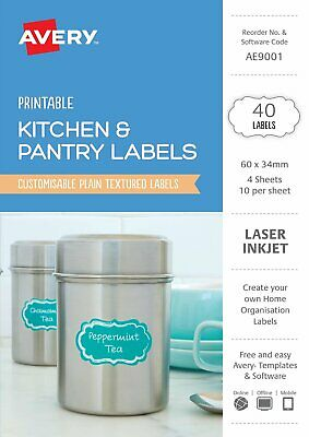 Avery Kitchen & Pantry Labels 60 x 34mm 40 Pack 22856