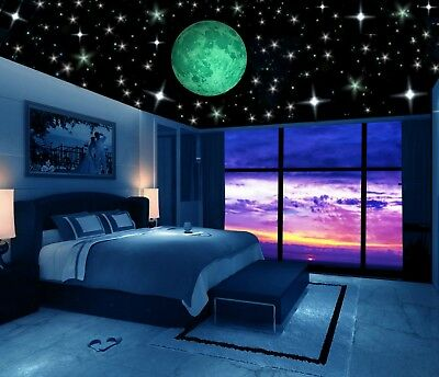 Glow in the Dark Stars w/ Big Moon-Perfect Gift, Wall Decal Stickers, Room decor