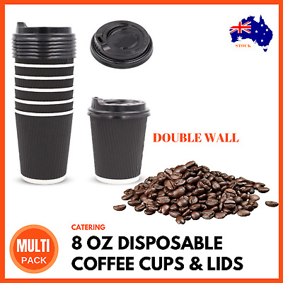 250ML DISPOSABLE COFFEE CUPS LIDS 8OZ Takeaway Paper Triple Wall Take Away BULK