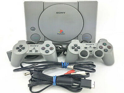 Sony PlayStation 1 Gray Console PS1 System w/ Two Controllers & Cables SCPH-7501