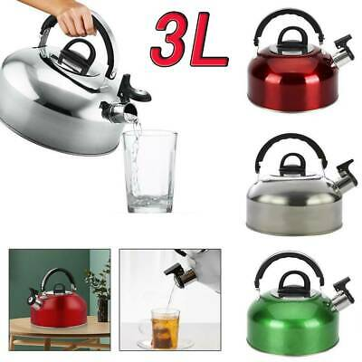 New 3L Stainless Steel Camping Kettle Home Camping Caravan Whistling KettleUK