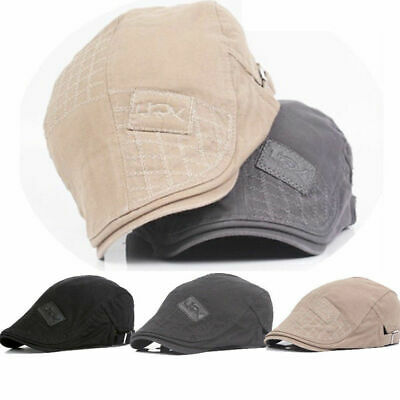 100% Cotton Mens Gatsby Cap Ivy Summer Hat Golf Driving Sun Flat Cabbie Newsboy