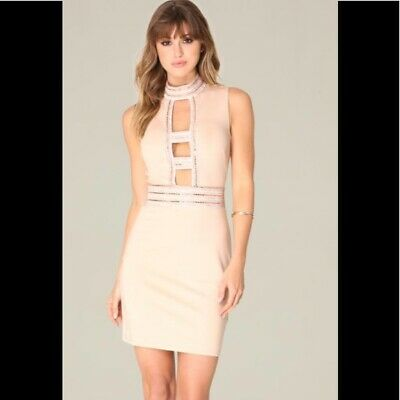 NWT Bebe top Dress light beige brown embellished and caged cutout XXS 00 sexy