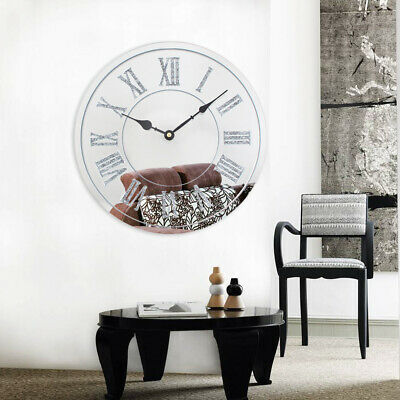 Glass Wall Clock Silver Sparkle Glitter Mirrored Wall Clock Roman Number