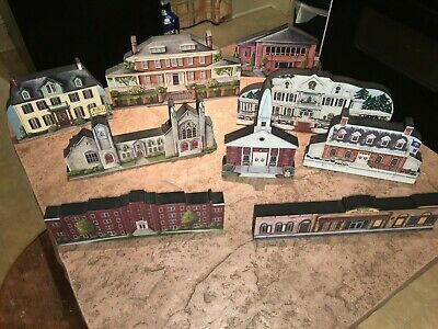 9 Wooden Village Houses of Milford, Delaware  Made for Joanies Frames and Things