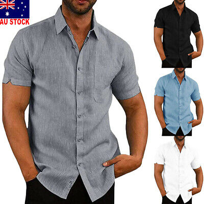 Men's Linen Short Sleeve Solid Shirts Casual Loose Dress Soft Tops Blouse Tee AU