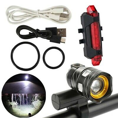 15000LM T6 LED MTB Bicycle Lights Bike Headlight Rear&Front Set USB Rechargeable