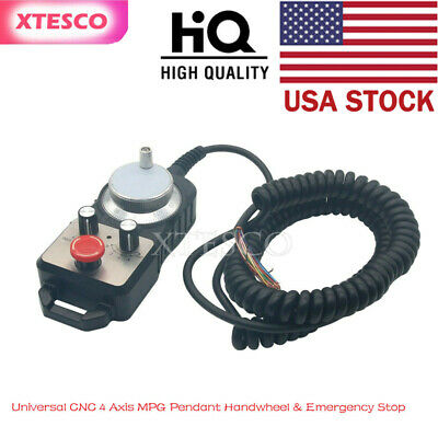 Universal CNC 4 Axis MPG Pendant Handwheel & Emergency Stop for Siemens US xs90*