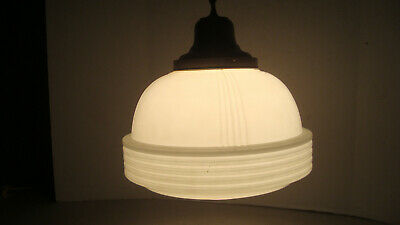 Big Heavy VTG Frosted Etched Art Deco Ceiling Light Fixture hall kitchen porch