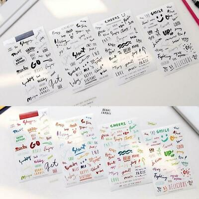 8 Sheets Simple Paper Stickers For Diary Notebook Phone Journal Bullet Mobi H1B8