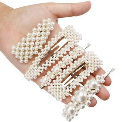 Women Pearl Beads Hair Clips Party Barrette Stick Hairpin Accessories Set of 5