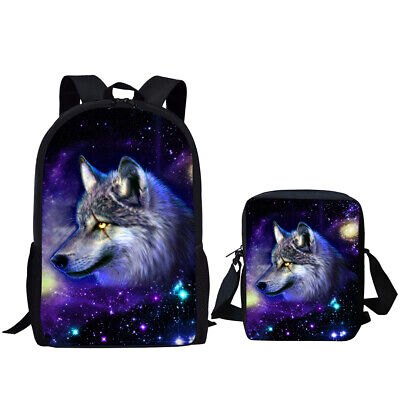 Cool 3D Wolf  Boys School Bag Backpack Mens Travel Rucksack Messenger Pencil Bag