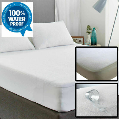 Terry Towel Waterproof Fitted Sheet Bed Cover Mattress Protector in All Sizes