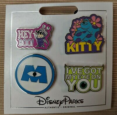 Disney Parks Authentic Monsters Inc. 4 Mini Pin Themed Set on Card