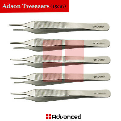 5Pcs Dental Adson Tweezers 15cm Veterinary Forceps Serrated Tissue Thumb Pliers