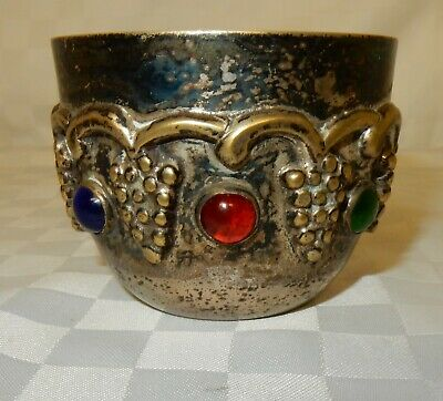 Vintage Silver Plated Coloured Glass Cabochon Encrusted Bowl
