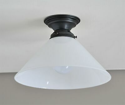 St Kilda-Batten Fix-White Coolie Shade-Polished Brass Ceiling Light-Laundry