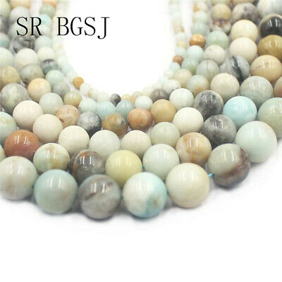 "Jewelry Making DIY Mixed Amazonite Round Gemstone Beads Strand 15""4-16mm"