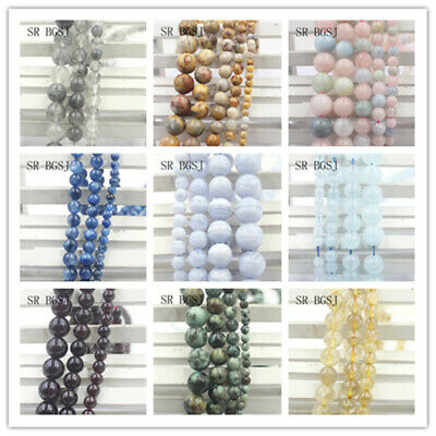 Wholesale Natural Round Gemstone Loose Jewelry DIY Beads Jewelry DIY 4-12mm