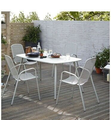 B&Q Dorsey 4/6 Seat Cream Metal Garden Table ONLY No Chairs New In Box