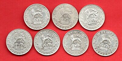7 X Sixpence Silver Coins Dated 1911 - 1919. King George V. Job Lot.