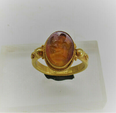 Superb Ancient Greek Gold Ring High Carat Gold Carnelian Intaglio Seated God