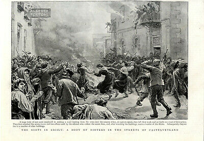 THE RIOTS IN SICILY: A BODY OF RIOTERS IN THE STREETS OF CASTELLETRANO c.1894