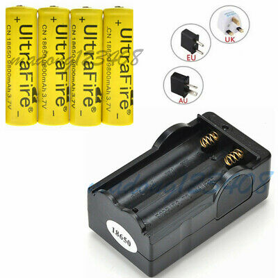 4PCS 3.7V 18650 9800mAh Li-ion Rechargeable Battery For Flashlight Torch+Charger