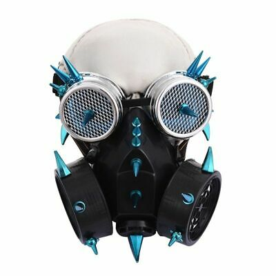 Punk Gothic Blue Spikes Respirator Cyber Steampunk Gas Mask Goggles Cosplay Prop