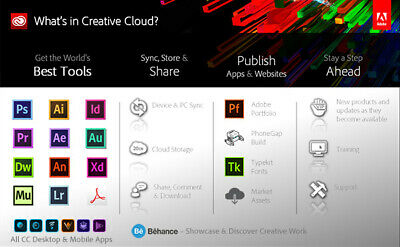 Adobe Creative Cloud 2019 - One Year License - Registered With Your Email