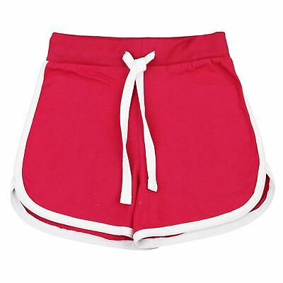 Kids Girls Shorts 100% Cotton Dance Gym Sports Pink Summer Hot Short Pant 5-13Yr