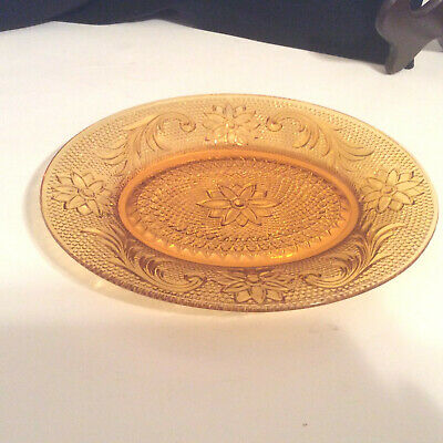 Vintage Indiana Glass Amber Tiara Sandwich Oval Glass Snack Plate