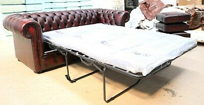 Chesterfield Tufted Buttoned 3 Seater Sofa Bed Real Vintage Red Oxblood Leather