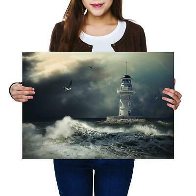 ART PRINT POSTER PHOTO SEASCAPE LIGHTHOUSE STORMY WEATHER WAVES LFMP0544