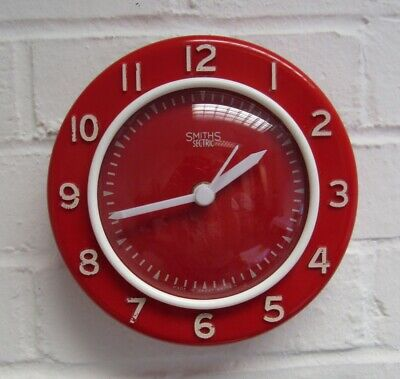 1950s Vintage Atomic Red White Bakelite Smiths Wall Clock Battery Fully Working