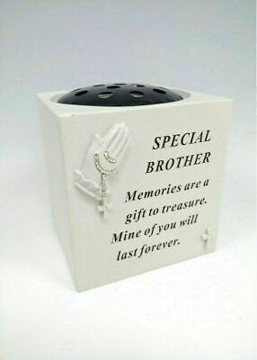 Memorial Praying Hands Brother Flower Bowl With Beads Graveside Ornament Rip