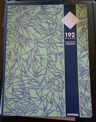 Cahier vert 192 pages grands carreaux SUFFREN 24x32 cm seyes velin surfin 70 g