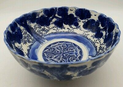 Edo Period Antique Arita Imari Japan Prunus Blue & White Bowl MUST SEE