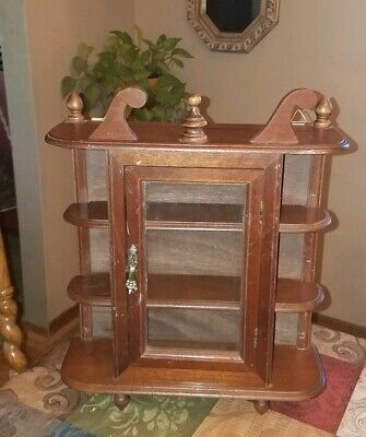 CHARMING VTG Small Wooden 3-Tier CURIO Cabinet~Wall Hung Display w/Glass Door!