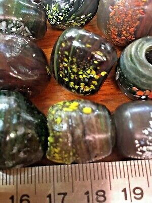 Assorted Venetian Antique Glass African Crumb Trade End Of Day Beads Lot Of 25