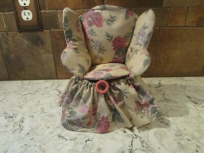 """Vintage Handmade Sewing Chair Pin Cushion With Storage - 9"""" tall x 7"""" wide"""