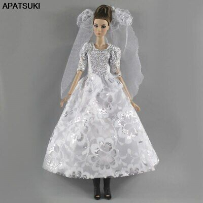 "Black Gray Fashion Doll Dress For 11.5"" 1/6 Doll Clothes Gown Party Dress Outfit"