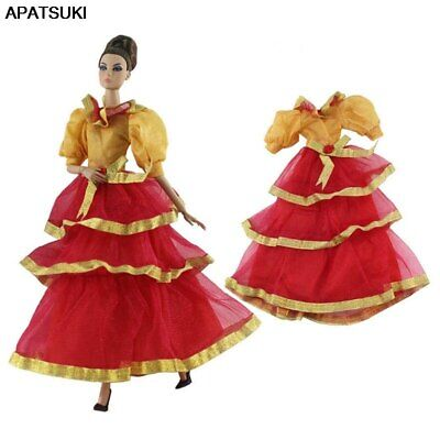 "Orange Red Fashion 1/6 Doll Clothes For 11.5"" Doll Princess Gown Party Dress Toy"