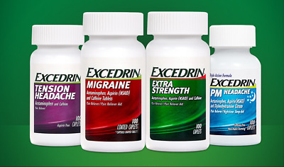 Excedrin Extra Strength/Migraine/PM Headache Night Relief 100 cts exp 2021- UK